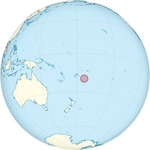 Map of Tonga in the South Pacific Ocean