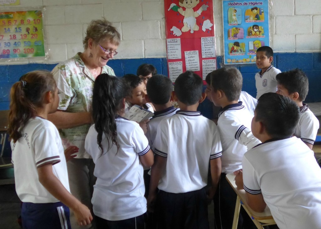 Susana teaching butterfly biology in El Salvador during her service with Peace Corps Response. Click on this photo to read about her experience.