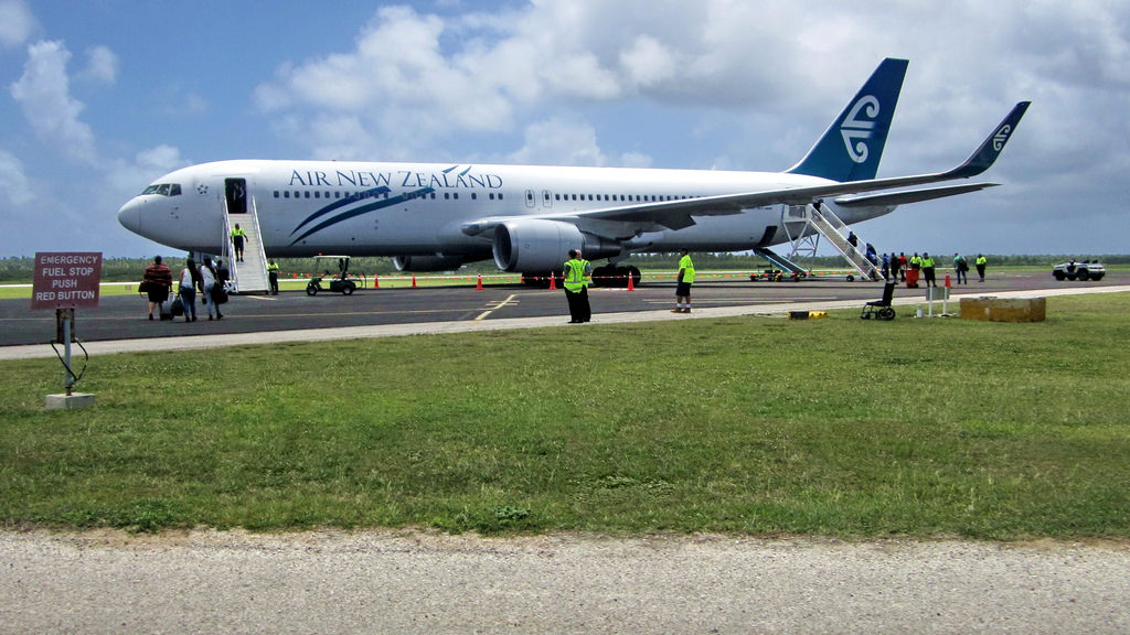 Air New Zealand Boeing 767 parked at Tonga's Fua'amotu International Airport. • Courtesy jokertrekker