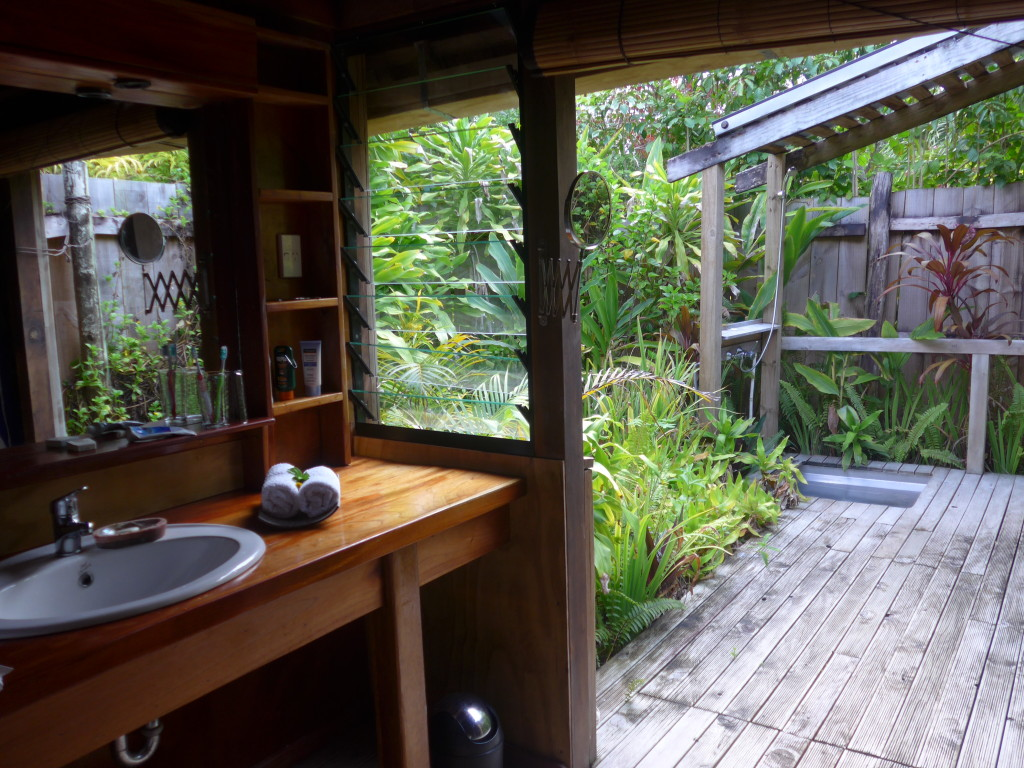 Elegant bathroom and private garden shower in our Fafá Island fale.